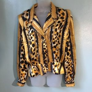 Vintage 80s animal print peplum top